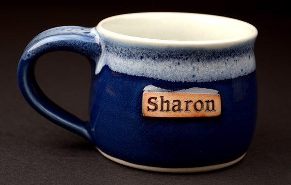 8 oz. blue personalized mug. The small mugs are great for kids!