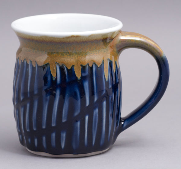 Carved Dark Blue Celadon with Gold mug