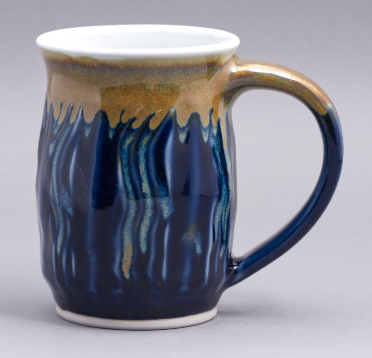 17 oz. Tall Skinny Faceted Dark Blue Celadon with Gold mug