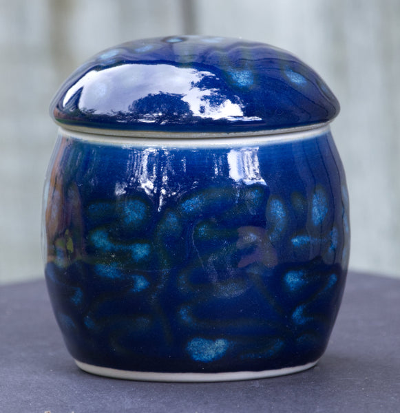 Dark Blue Celadon Lidded Jar