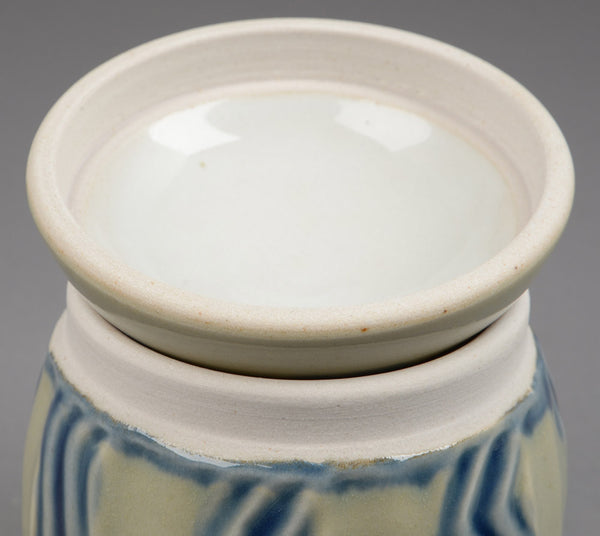 Lidded jar - Celadon with blue accents