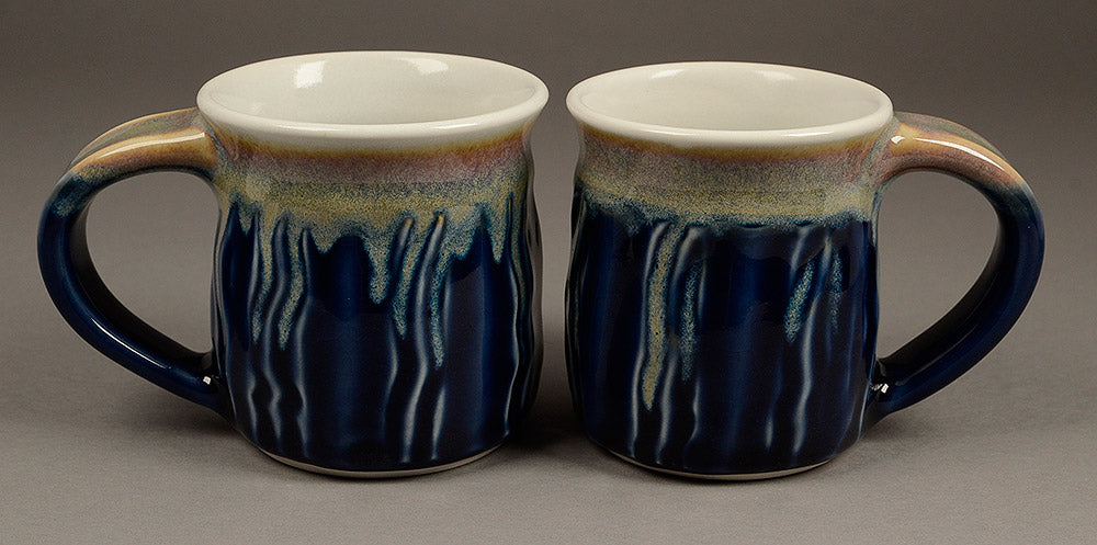 Set of Two Small Blue Signature Mugs