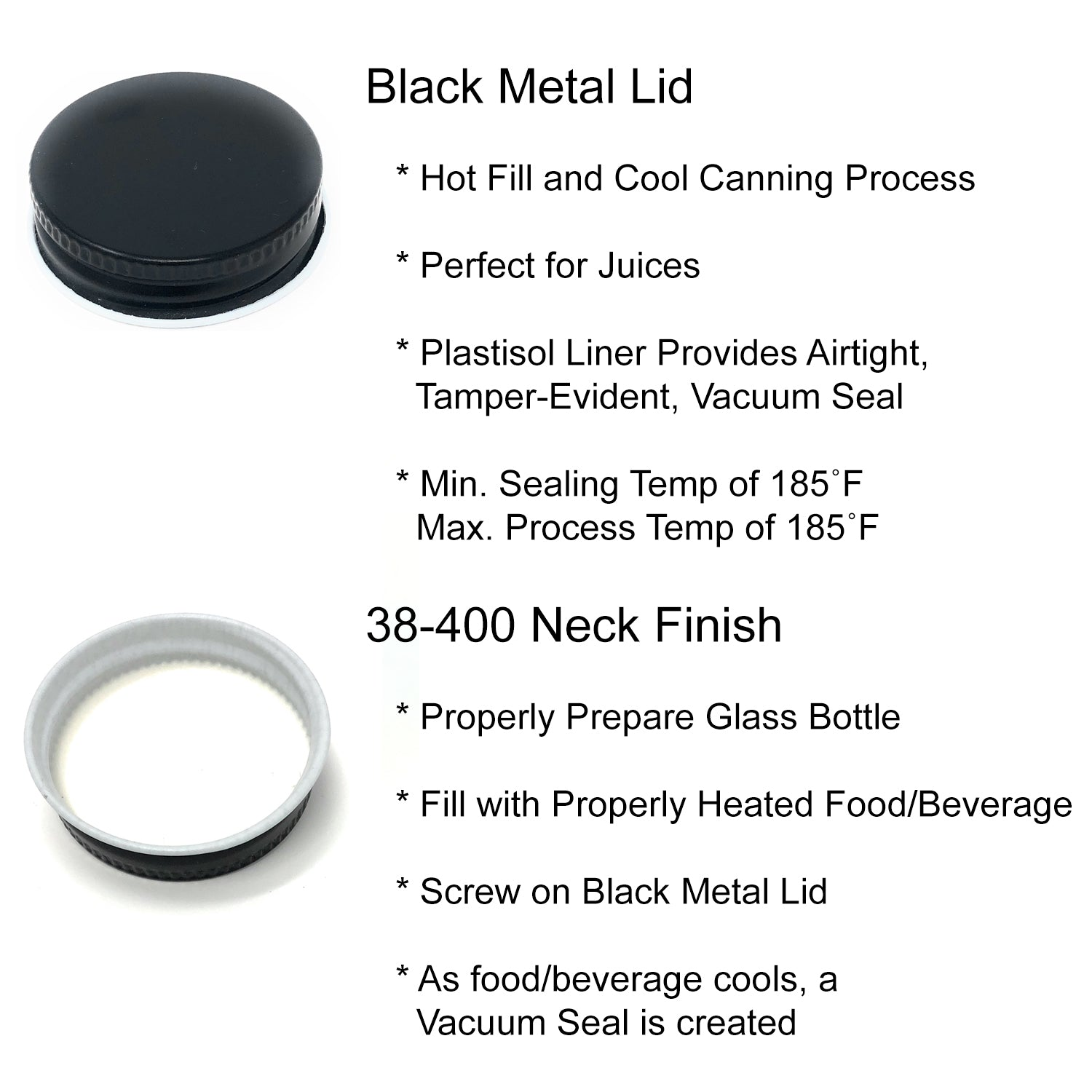 Clear Wide Mouth Glass Bottles for Beverage/Sauce with Black Metal Lids and Shrink Wrap Seals, 12 oz, Pack of 12