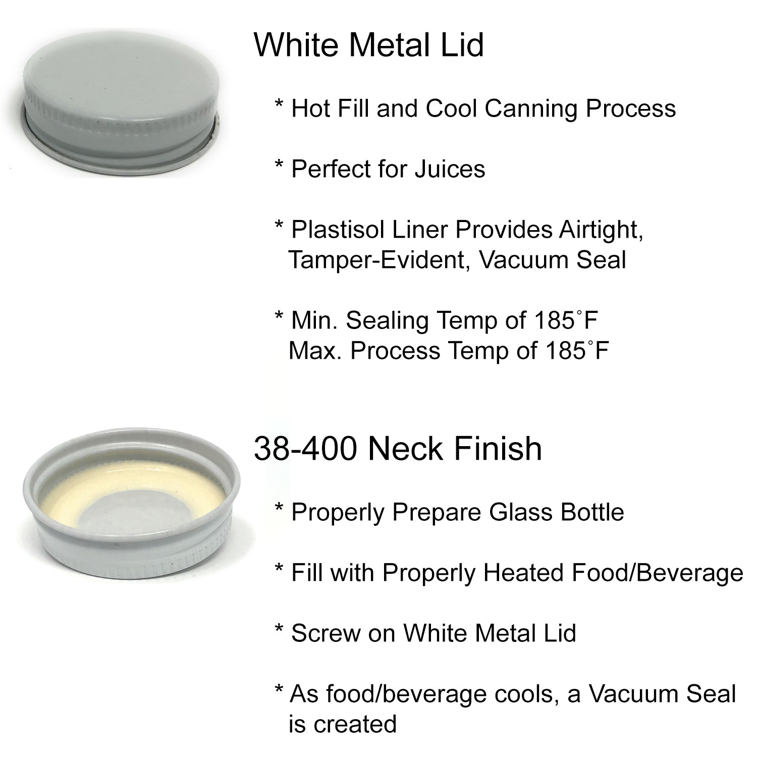 Clear Wide Mouth Glass Bottles for Beverage/Sauce with White Metal Lids and Shrink Wrap Seals, 12 oz, Pack of 12