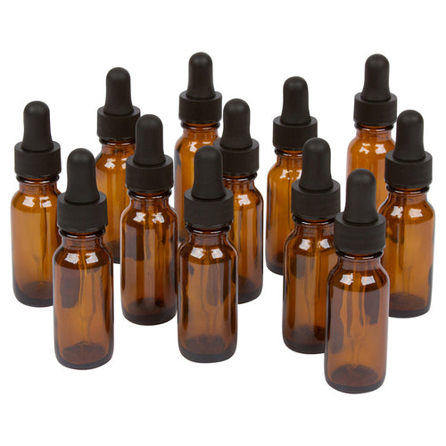 A & A Worldwide Amber Boston Round Bottles for Essential Oils and Liquids with Black Rubber Bulb Glass Droppers, 15 ml (Pack of 12) - A & A Worldwide