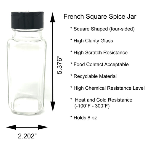 French Square Glass Bottles for Beverage, Spices, and Decorations with Black Lids and Spice Shaker Pour Lids, 8 oz, Pack of 10