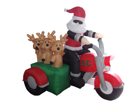 5 Foot Santa Claus on Motorcycle with Three Reindeers