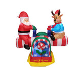 4 Foot Animated Santa Claus and Reindeer Teeter Totter