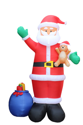 12 Foot Tall Santa Claus With Blue Gift Bag Christmas Yard Inflatable