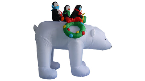 8 Foot Three Penguins on Polar Bear