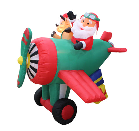 6 Foot Long Santa Claus on Helicopter with Reindeer