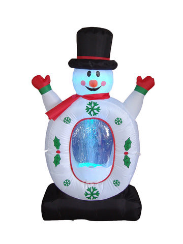 4 Foot Snowman with Snowflake Light Show