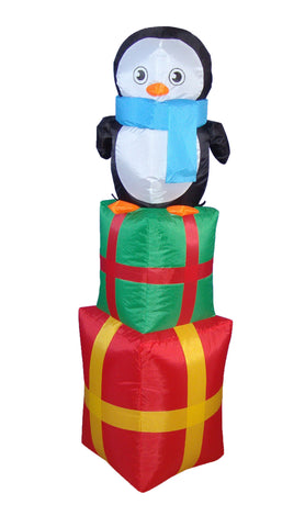 4 Foot Penguin on Gift Box
