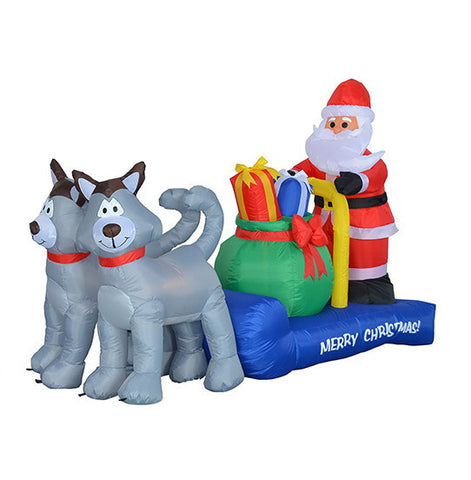 7 Foot Long Santa Claus on Husky Sleigh with Present