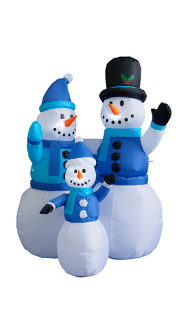 4 Foot Blue Snowmen Family