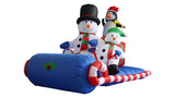 6 Foot Long Snowmen Family on Sleigh with Penguin