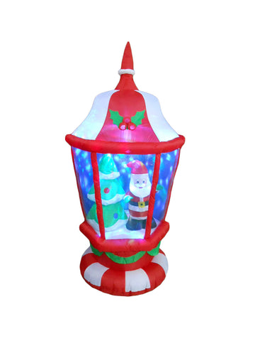 6 Foot Christmas Lantern with Santa Claus and Christmas Tree