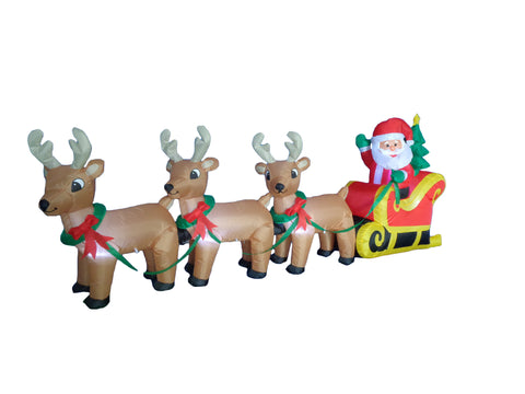 8 Foot Long Santa Claus on Sleigh with Three Reindeer