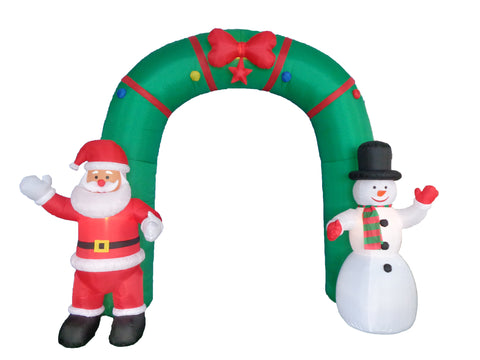 10 Foot Christmas Archway with Santa Claus and Snowman