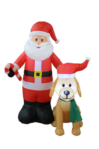 5 Foot Christmas Inflatable Santa Claus with Candy Cane and Dog with Christmas Hat
