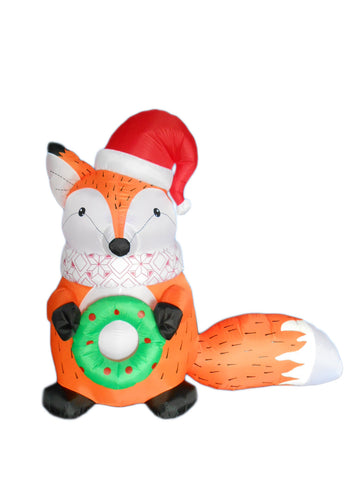 5 Foot Christmas Inflatable Fox with Christmas Hat and Wreath