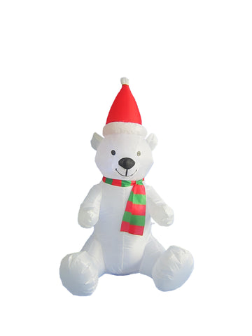 4 Foot Christmas Inflatable Polar Bear with Christmas Hat