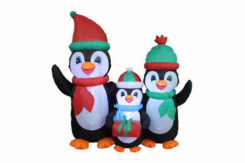5 Foot Christmas Inflatable Penguins Family with Gift