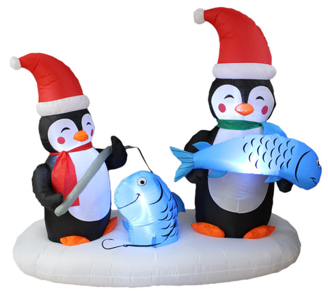 6 Foot Long Christmas Inflatable Penguins Fishing