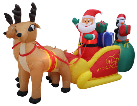 13 Foot Long Christmas Inflatable Santa Claus with Reindeer Sleigh and Penguin