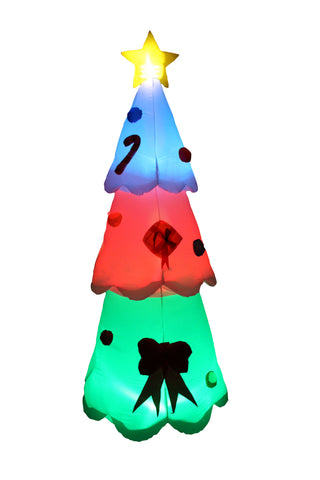 8 Foot Tall Inflatable LED Color Changing Christmas Tree Yard Decoration