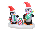 6 Foot Long Christmas Inflatable Penguins and Gift box Yard Decoration