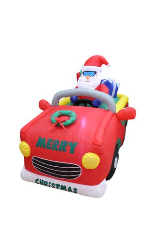 6 Foot Wide Christmas Inflatable Santa Riding Car Decoration