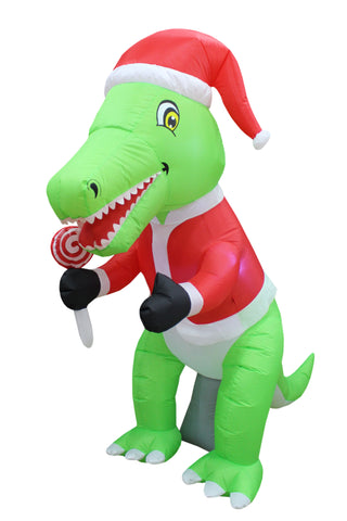 6 Foot Tall Green Dinosaurs with Candy Lollipop Christmas Inflatable