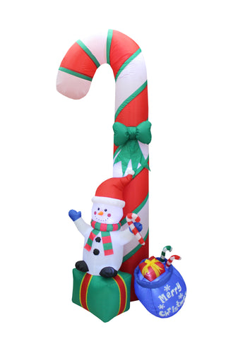 9 Foot Tall Christmas Inflatable Snowman on Giftbox with Candy Cane Yard Decoration