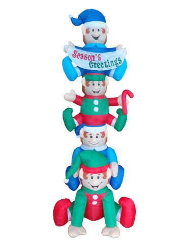 8 Foot Tall Christmas Inflatable Stacked Elves Yard Decoration