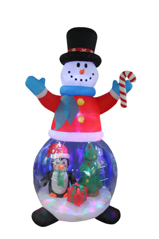 8 Foot Tall Christmas Inflatable Snowman Globe with Penguins, Gift Box and Christmas Tree Yard Decoration