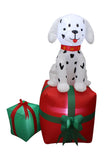 5 Foot Tall Christmas Inflatable Dalmation Puppy Sitting on Gift Box Yard Decoration