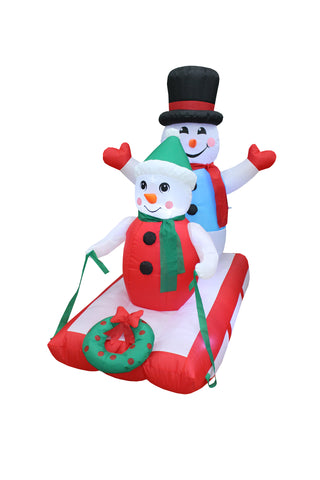 4 Foot Tall Christmas Inflatable Snowmen on Sled with Wreath Yard Decoration