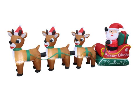 8 Foot Long Christmas Inflatable Santa Claus on Sleigh with Three Reindeer Decoration