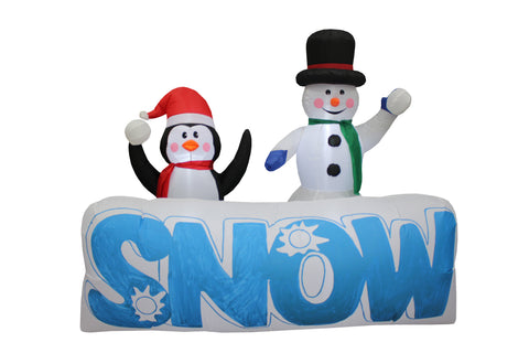 "6 Foot Long Christmas Inflatable Snowman and Penguin With ""SNOW"" Banner Yard Decoration"