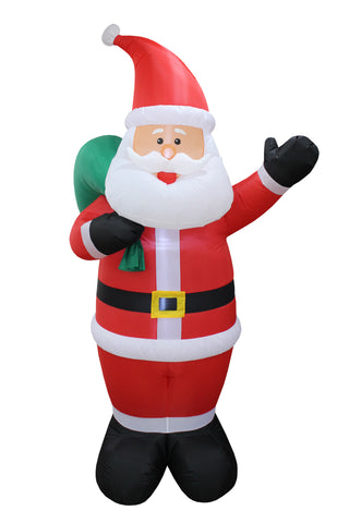 8 Foot Tall Santa Claus and Green Gift Bag Christmas Inflatable