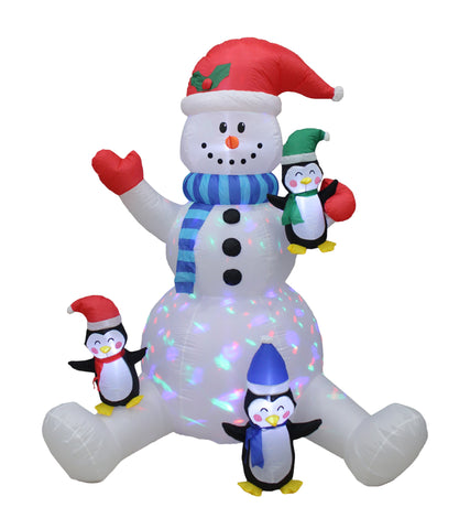 6 Foot Tall Christmas Snowman With Three Cute Joyful Penguins Lighted Blowup Party Decoration