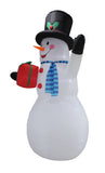 12 Foot Tall Huge Christmas Snowman Holding Gift Box Lighted Blowup Party Decoration