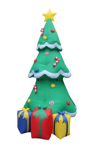 12 Foot Christmas Tree with Star, Sugar Cane, Ornaments and Gift Boxes