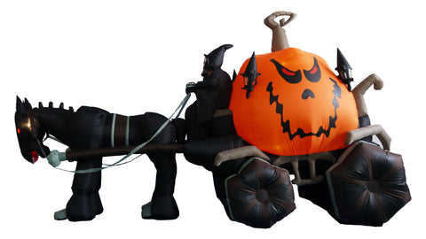 12 Foot Long Carriage w/ Ghost Skeleton and Pumpkin