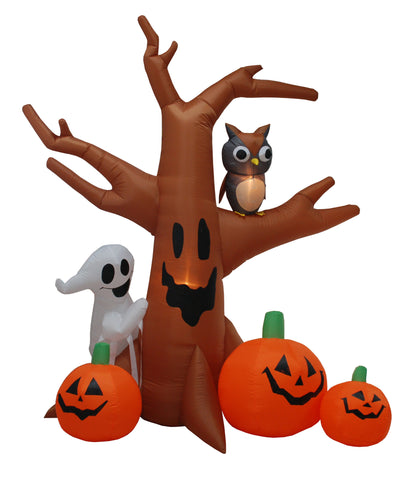 8 Foot Tree with Owl, Ghost and Pumpkins