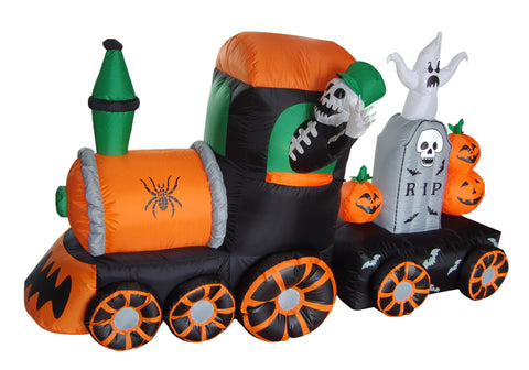 7 Foot Long Skeleton on Train with Pumpkins and Ghost Tombstone