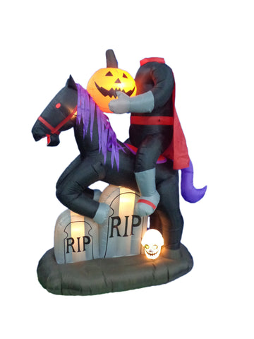 6.7 Foot Headless Horse with Pumpkin and Tombstone
