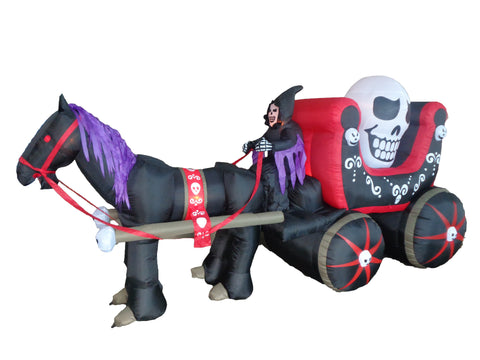 12 Foot Halloween Skeleton on Carriage with Huge Skull