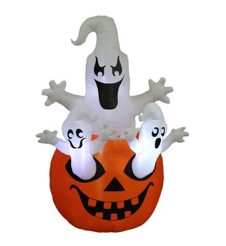 5 Foot Halloween Inflatable Pumpkin with Ghost